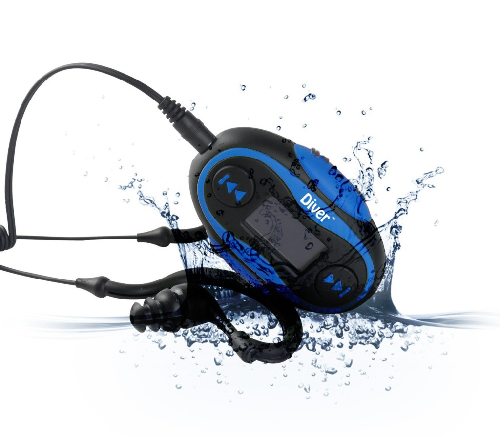 Diver Waterproof Headphones for Swimming with 4GB MP3 Player and LCD Display