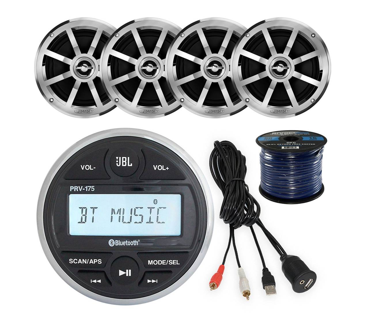 "Jensen 6.5"" Bluetooth Marine Speakers with Receiver"