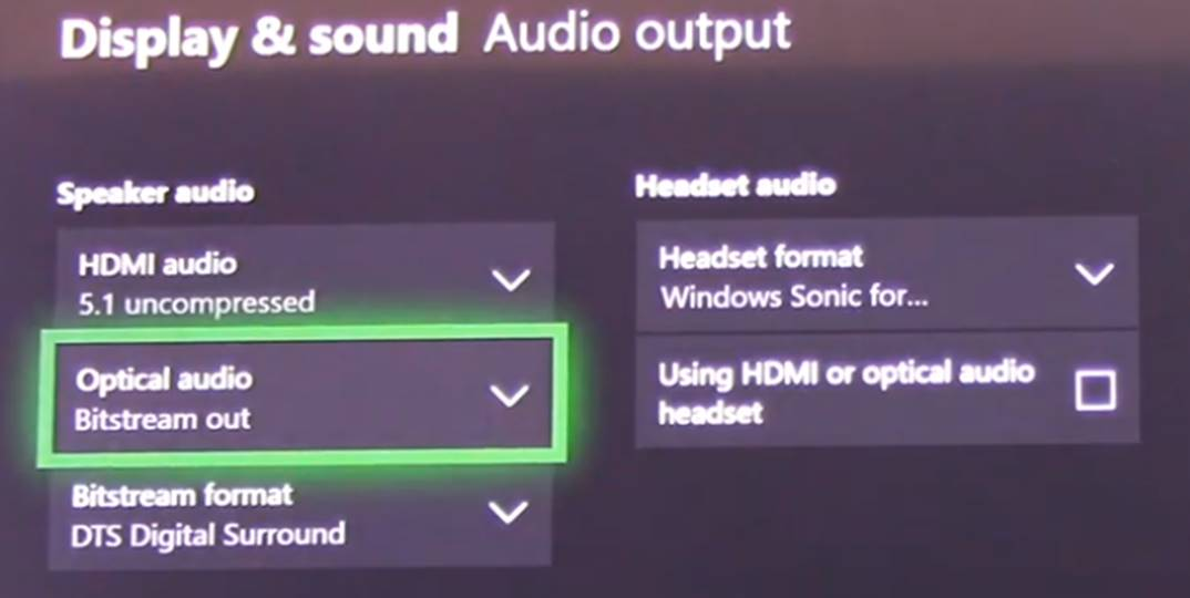 Xbox One Configuration Options
